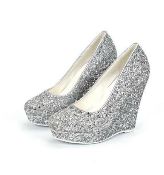 Womens Fashion Oxford Bling Sequins Sexy Platform Wedge Heel shoes Sz35-43