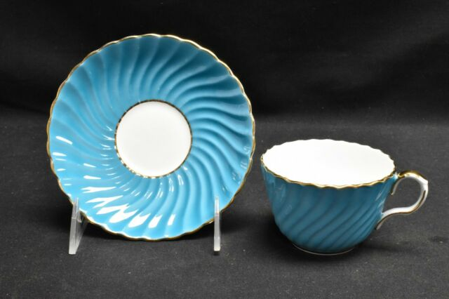 Aynsley C126 Teal Blue Cup & Saucer
