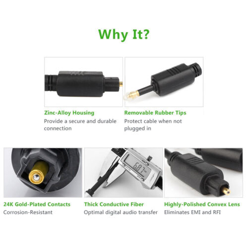 Toslink Digital Cable Optical Audio Cable Adapter for TV Blueray PS3 XBOX DV Lot