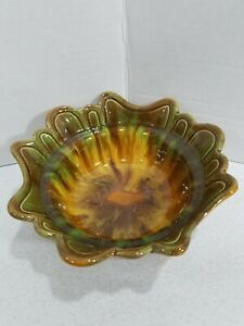 "USA California Art Pottery Drip Glaze Green Brown 7"" Diam Planter Bowl Dish"