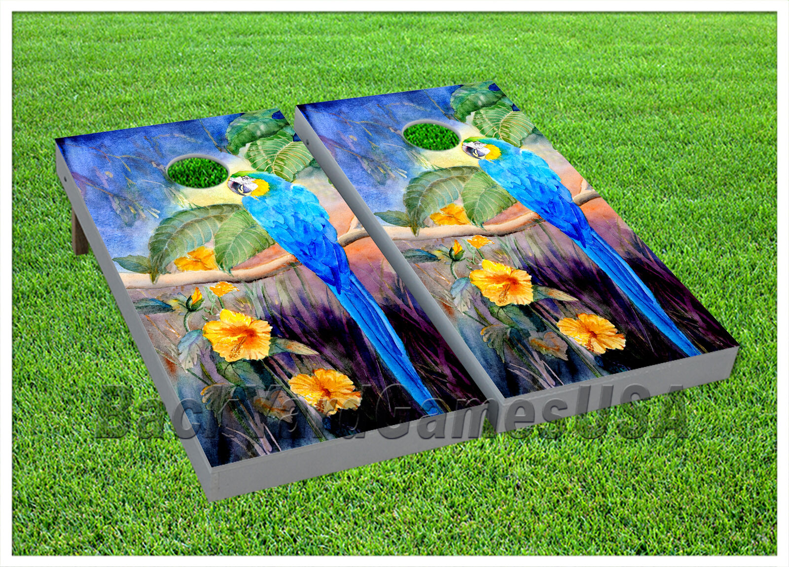 VINYL CORNHOLE BEANBAG Boards Tropical Parred Painting Wraps 1106