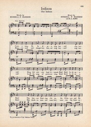 "Our Indiana/"" INDIANA UNIVERSITY Original Vintage Song Sheet c1941 /""Indiana"