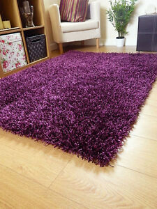 New Small Large Silky Dark Purple Rugs Shaggy Round Sparkle Circle Area Rug Ebay