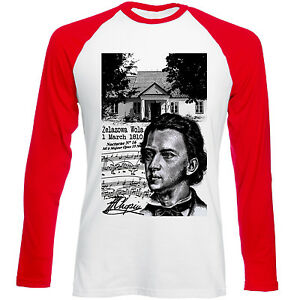 FREDERIC-CHOPIN-POLISH-COMPOSER-NEW-RED-SLEEVED-TSHIRT
