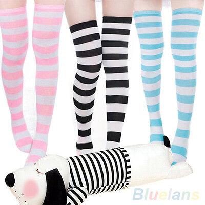 New Stunning Striped Thigh High Long Hosiery Over The Knee Dress Socks Stockings