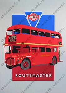 Routemaster-bus-NEW-signed-limited-edition-screen-print-on-metal-board-A3-size