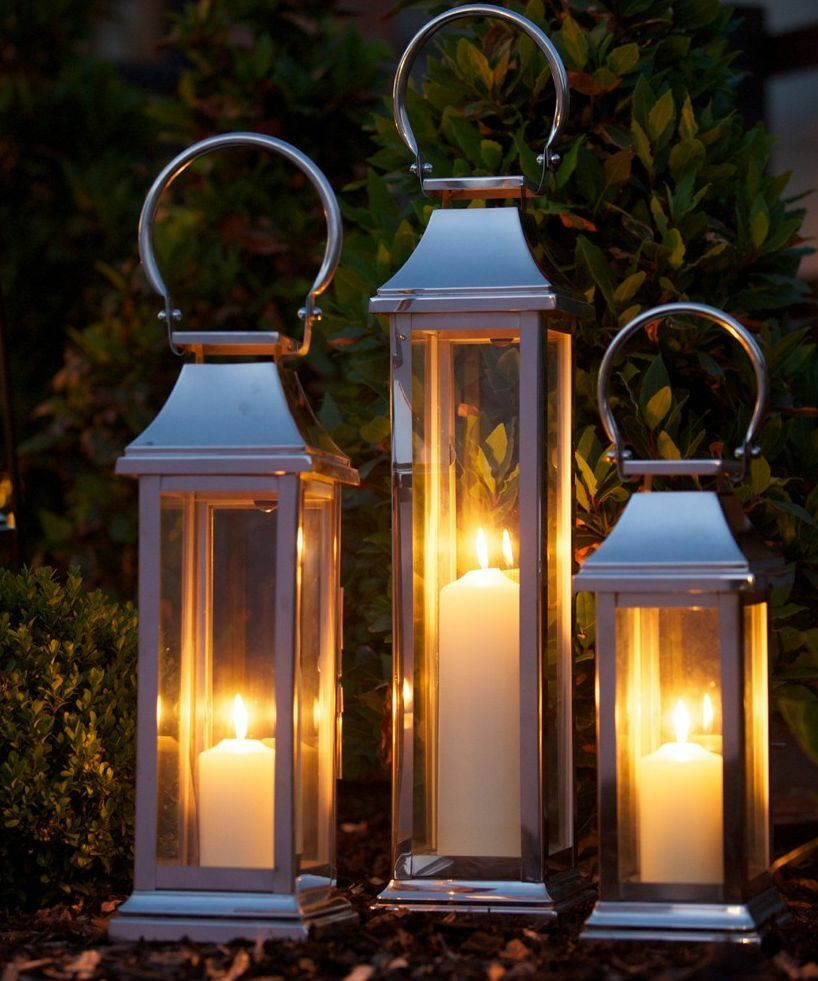 Culinary Concepts - Beautiful Glass Candle Station Lantern - Stainless Steel