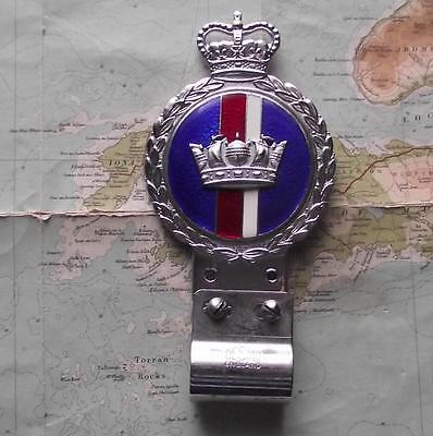 c1950 Vintage Car Enamel Chrome  Mascot Badge Royal Navy by Gaunt & Desmo Mount