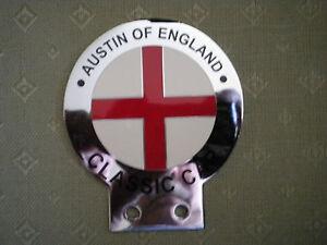 AUSTIN OF ENGLAND CHROME & ENAMEL CAR BADGE