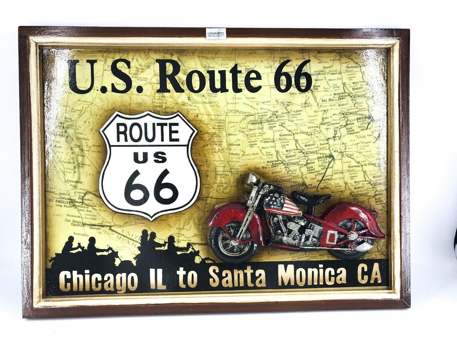 Panel aus Holz mit Deko und Schrift US Route 66 USA Mother Road Badezimmerset