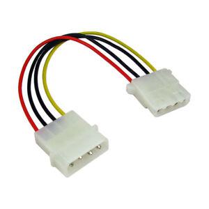 18cm Power Extension Cable 4 pin LP4 Molex Male to Female Premium Range 5056098717141