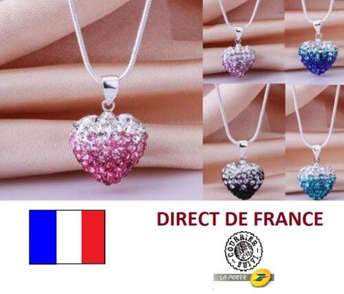 Lot 5 colliers shamballa coeur double coloris revendeur FR marché NEUF bijoux