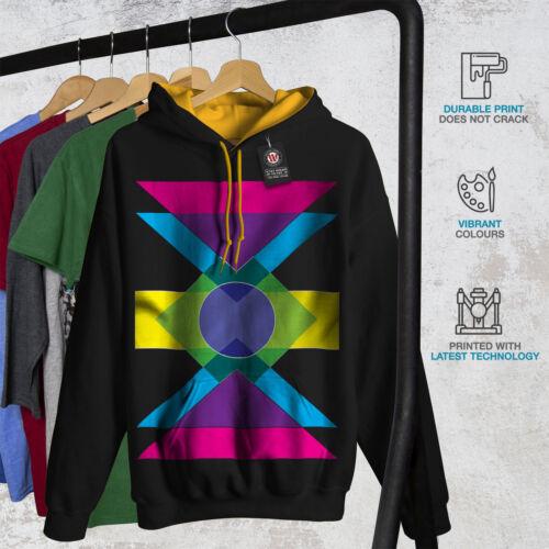 Colorful Casual Jumper Wellcoda Geometric Pattern Mens Contrast Hoodie