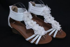 Women-039-s-Flower-Sandals-Wedge-Heel-Buckled-Ankle-Strap-shoes-White