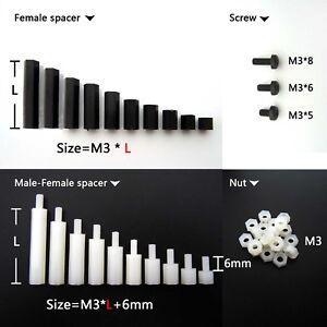 25-50-100pcs-Plastic-Nylon-M3-Hex-Column-Standoff-Support-Spacer-Screw-Nut