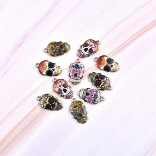 10PCS Mixed Color Enamel Sugar Skull Charm Pendant For Jewelry 22*12mm