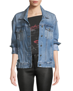 88ca513e2a5bc Image is loading PAIGE-Josephine-Sequin-Rose-Distressed-Trucker-Jacket-Size-