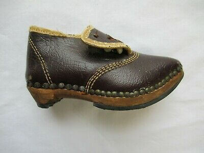 Antique Victorian Lancashire Baby Button Shoe Clog Wood Leather | eBay