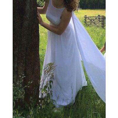 Brautkleid Hochzeitskleid Trauungskleid weiß mit Schleppe, Gr 36 / 38