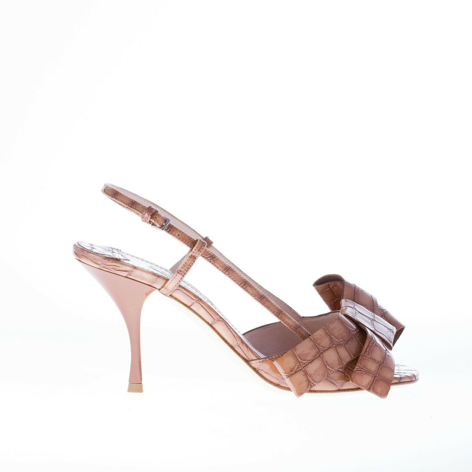 MIU MIU women shoes Brown croco embossed patent leather sandal with adorning bow