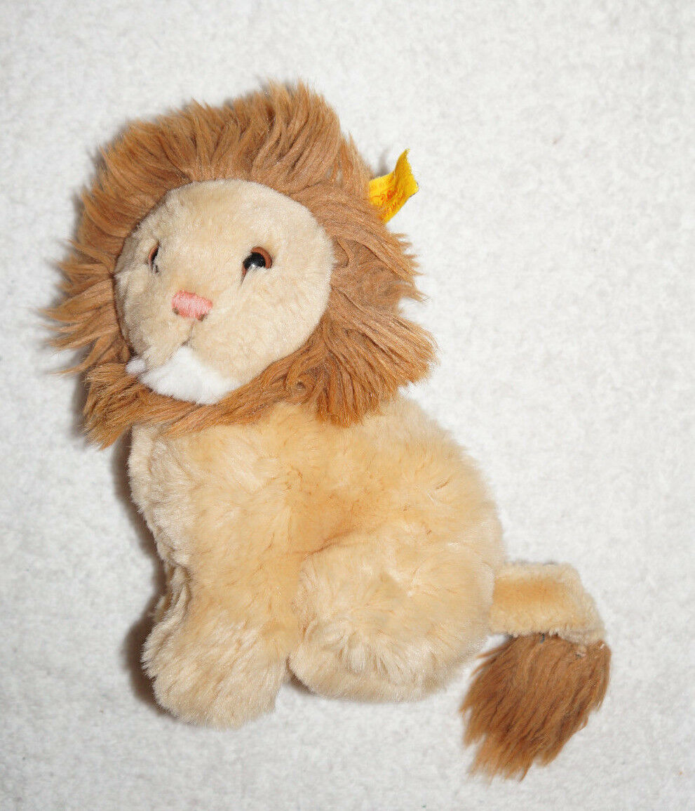 7  STEIFF PLUSH LION w  Tag and Ear Made in Germany Tiger Doll Nice Leo