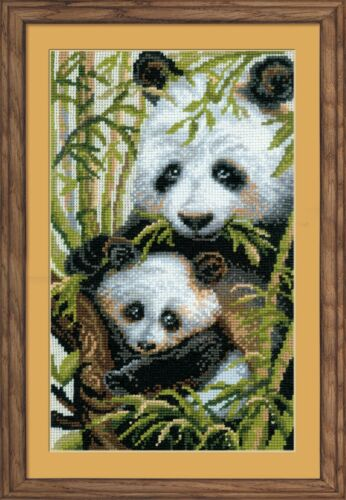 RIOLIS 1159  PANDA WITH YOUNG  COUNTED CROSS STITCH KIT  Aida 14 count