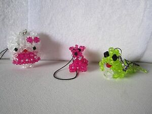Hand made 3pcs Hello Kitty, Pink Dog,Green Frog Charm Keychain String for Cell p