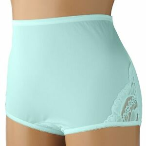 a6f6bfb6a78 Vanity Fair Lace Nouveau 100% Nylon Azure Mist Full-Cut Brief Size 7 ...