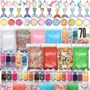 70PCS Slime Add Ins Slime Kit for Girls and Boys Floam Beads Fish Bowl Beads Kit