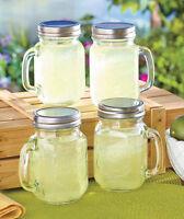 Mug Set Handle Style Kitchen Glasses Drinking Case Of 4 Mason Jar Glass W/ Lid