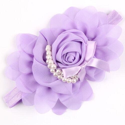 Baby Girls Flower Pearl Headband Soft Head Elastic Band  Bow Hairband