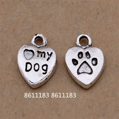 20pc Tibetan Silver Charms Heart MY DOG Pendant Beads Jewellery AccessoriesGP102