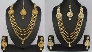 Ethnic-Indian-Fashion-Jewelry-Wedding-kundan-Long-Necklace-Earring-Set-Women