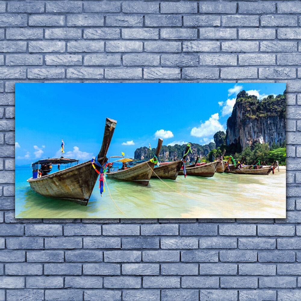 Glasbilder Wandbild Druck auf Glas 140x70 Stiefele Meer Strand Landschaft