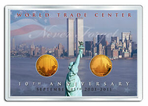 WORLD-TRADE-CENTER-10th-Anniversary-FREEDOM-TOWER-24K-Gold-Plated-2-Coin-Set