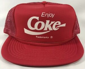 Vintage-Enjoy-Coke-Soda-Trucker-Snapback-Mesh-Hat-NEW-NOS-Dead-Stock-Coca-Cola