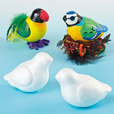 3D White Polystyrene Birds 10cm for Children to Paint & Decorate  (Pack of 10)