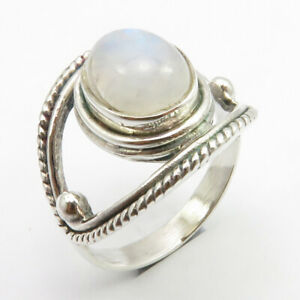 size 55 Rainbow Moonstone and silver ring