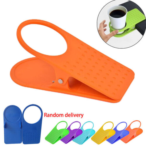1pc Universal Clip On Coffe Cup Holder Desk Table Beverage Non-Slip Stand Grip