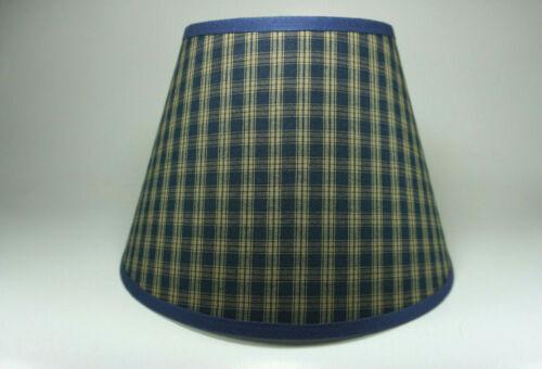 Primitive Country Navy Sturbridge Plaid Homespun Fabric Washer Top Lamp Shade