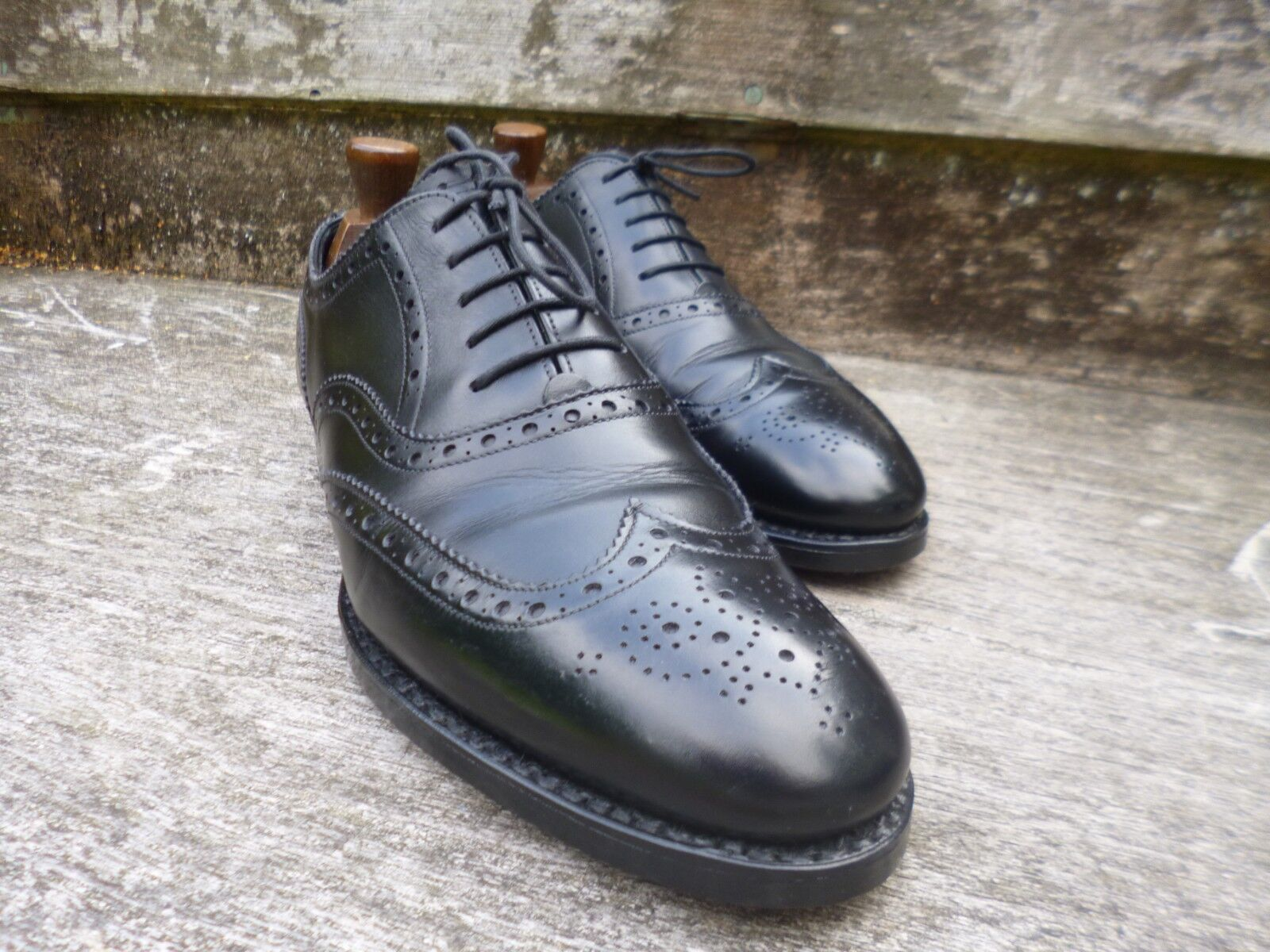 POULSEN SKONE ( GIEVES HAWKES ) BROGUES – – – schwarz – UK 7.5  – EXCELLENT CONDITION  624db9