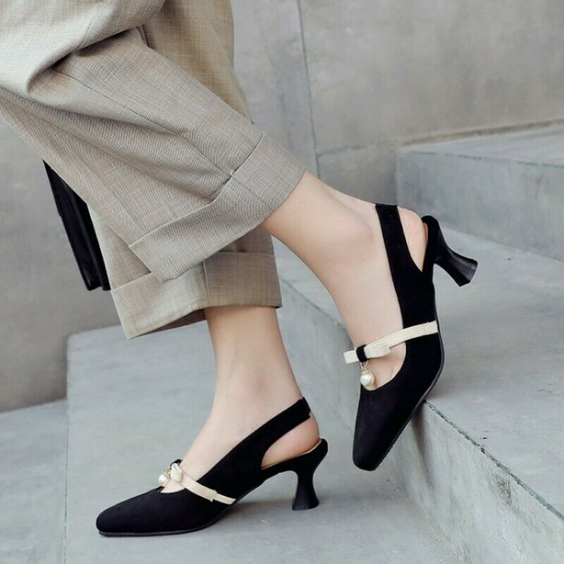 2019 New Womens Slingback Pointy Toe Bowknot Pump Velvet Mid Kitten Heel shoes