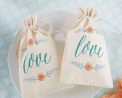 12 In Bloom Botanical Muslin Brial Shower Wedding Favor Bags