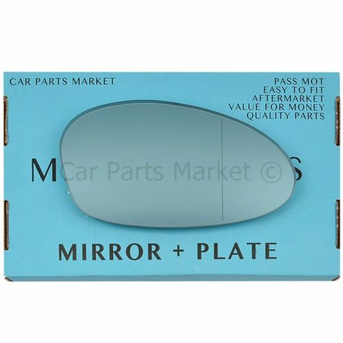 For BMW z4 02-08 Right Driver side Aspheric Blue wing mirror glass with plate