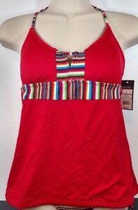 Red-Stripe-Halter-Tankini-Top-padded-swim-bathing-suit-swimwear-Mossimo-Small