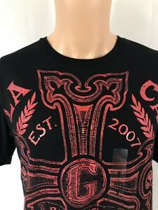 La-Ca-2007-Guess-Size-Small-Black-Shirt-Red-Shines-Graphic
