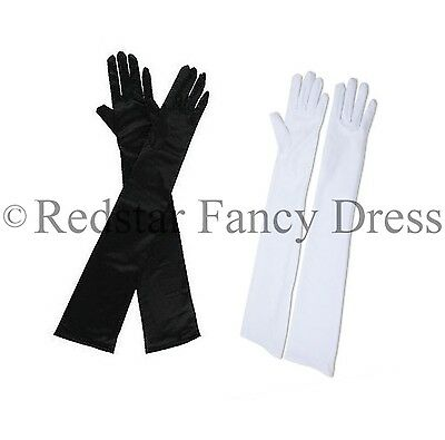 BLACK OR WHITE BURLESQUE LONG OPERA GLOVES CHARLESTON PARTY PROM EVENING