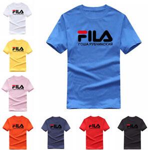 Details zu Gosha Rubchinskiy FILA Logo Print Herren Damen T-shirt Kurze  Ärmel Shirts Tops