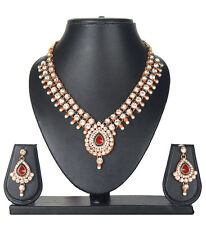 BOLLYWOOD INDIAN BRIDAL GOLD PLATED KUNDAN NECKLACE SET EARRINGS
