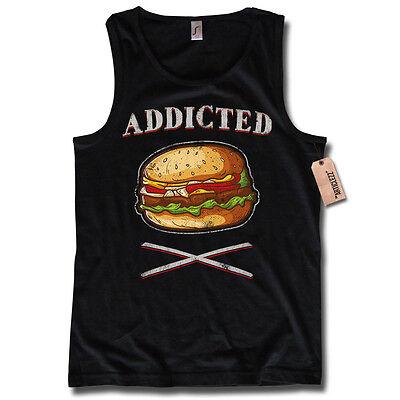 Camiseta de tirantes -addicted FASTFOOD BURGER Hamburguesa Junkie algodón